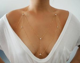 14k Gold Filled Cosmic CZ Diamond Dainty Chain Bralette Halter Top Body Chain | Chain Bralette | Real Gold Body Chain