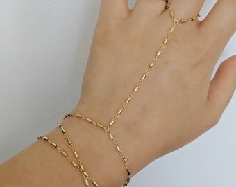14k Gold Filled Bohemian Wrap Hand Piece Bracelet | Real Gold Bracelet
