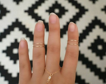 Dainty Minimalist 14k Gold Filled Midi Knuckle Rings Set of 4/ Stack Ring/ Skinny Ring/ GOLD Rings/Dainty Gold Rings / Dainty Gold Jewelry