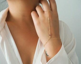14k Gold Filled with 14k Solid Gold GARNET Dainty Hand Piece   Real Gold Bracelet