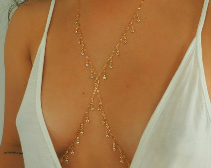 Featured listing image: 14k Gold Filled Dripping CZ Diamonds Dainty Body Chain/ Dainty Gold Body Chain / CZ Body Chain / Body Chain/ Gold Filled Jewelry/