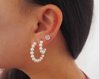 14k Gold Filled Pearl Crescent Moon Hoop Earrings