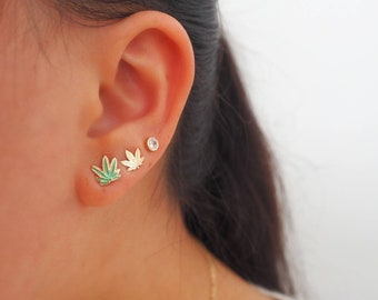 14k Solid Gold Mary Jane Cannabis Stud Earrings/ Real Gold Jewelry/ Dainty Jewelry
