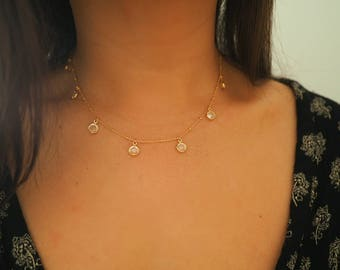 14k Gold Filled Ball Chain Swarovski CZ Diamond Dainty Choker Necklace