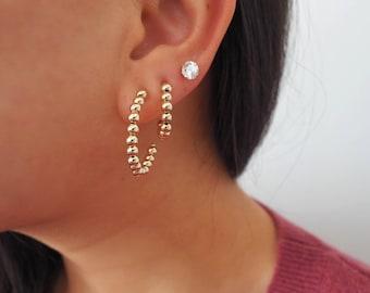 14k Gold Filled Crescent Moon Hoop Earrings