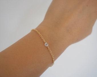 14k Gold Filled & 14k Solid Gold White Topaz Dainty Chain Bracelet   VERSION 2.0     Real Gold Bracelet
