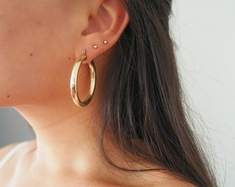 "14k Gold Filled 1.75"" Retro Classic Chunky Hoop Earrings"