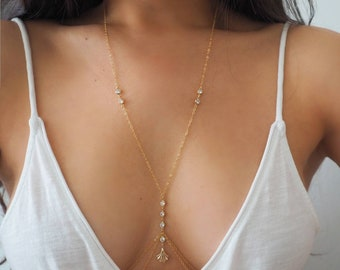 14k Gold Filled CZ Diamonds & Fan Double Layer Dainty Body Chain/ Dainty Gold Body Chain / CZ Diamond Body Chain/ Gold Filled Jewelry