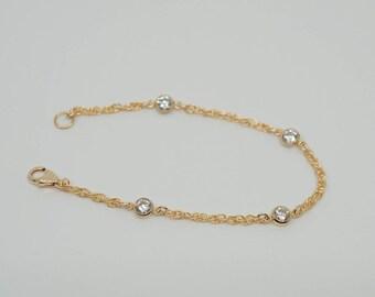 14k Gold Filled CZ Diamonds Rope Chain Bracelet