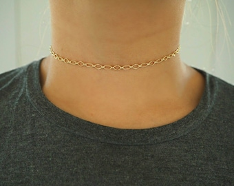 14k Gold Filled Geo Chain Dainty Choker Necklace/ Dainty Gold Necklace / Gold Filled Jewelry / Real Gold Necklace /
