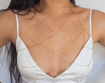 14k Gold Filled Reflecting Bars Mesh Bralette Halter Top Body Chain/ Gold Chain Bralette Dainty Gold Body Chain/ Gold Filled Jewelry