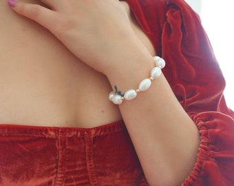 14k Gold Filled Oval Pearl Bracelet