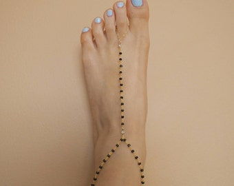 14k Gold Filled CZ Diamond & Black Spinel Dainty Anklet Foot Piece// Dainty Jewelry