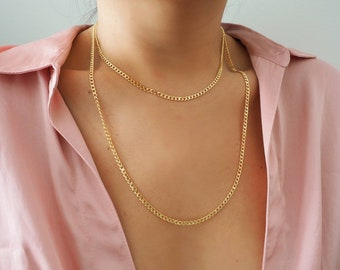 14k Gold Filled Smooth Dainty Curb Chain Necklace/ Gold Layer Necklaces/ Real Gold Jewelry/ Necklace Sets