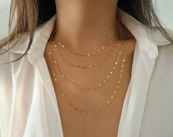14k Gold Filled Sparkle Bar Chain Multi Strand Necklace