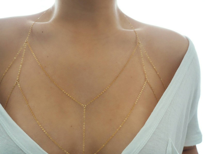 389985aa06084 14k Gold Filled Dainty Chain Bralette Halter Top Body Chain