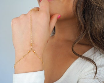 14k Gold Filled with 14k Solid Gold Citrine Triple Marquise Hand Piece