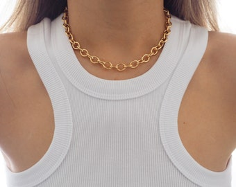14k Gold Filled Chunky 10mm Oval Chain Necklace | VERSION 2.0 | Real Gold Jewelry