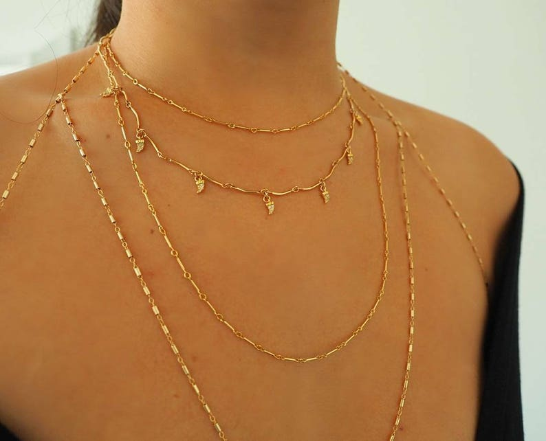 81a50af45e1fe 14k Gold Filled Bohemian Chain Bralette Halter Top Body Chain