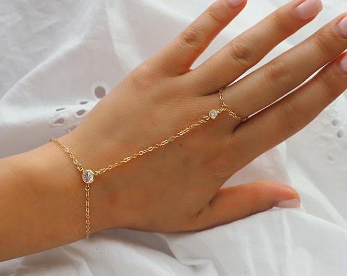 14k Gold Filled CZ Diamond Line Dainty Hand Piece | Real Gold Bracelet