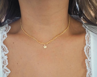 14k Gold Filled with 14k Solid Gold Cannabis Leaf Charm Necklace | Flat Slick Curb Chain | Real Gold Jewelry