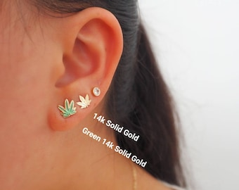 14k Solid Gold Mary Jane Cannabis Stud Earrings | Real Gold Earrings