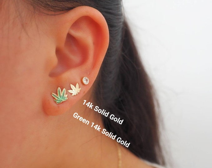 14k Solid Gold Mary Jane Cannabis Stud Earrings   Real Gold Earrings