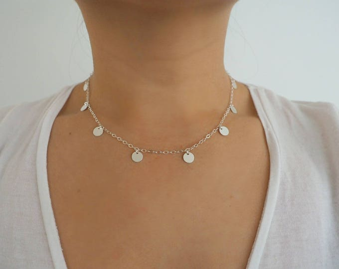 Sterling Silver Coin Dainty Choker Necklace