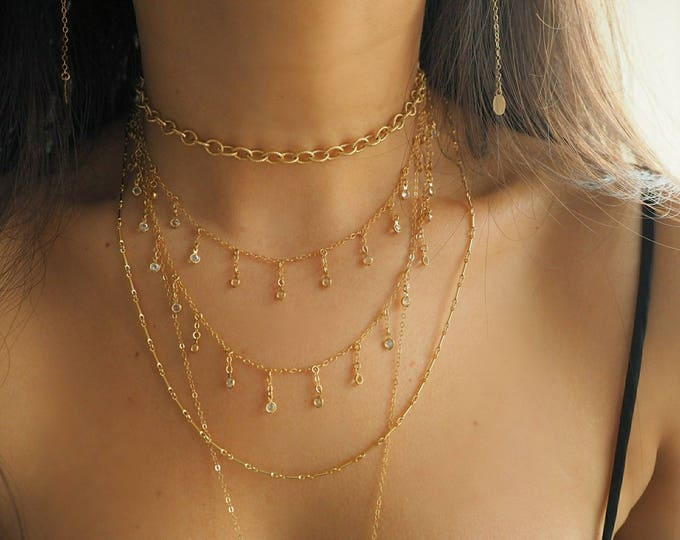 14k Gold Filled Dripping Swarovski Crystals Necklace, Belly Chain & Wrap Bracelet   Multiway Necklace   Real Gold Jewelry