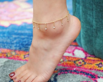 14k Gold Filled Dripping CZ Diamonds Dainty Anklet | VERSION 2.0 | Real Gold Jewelry