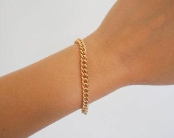 14k Gold Filled Classic Curb Chain Bracelet | Real Gold Bracelet