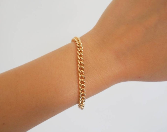 14k Gold Filled Classic Curb Chain Bracelet   Real Gold Bracelet