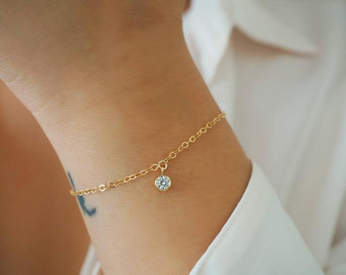 14k Gold Filled CZ Diamond Minimalist Chain Bracelet | Real Gold Bracelet