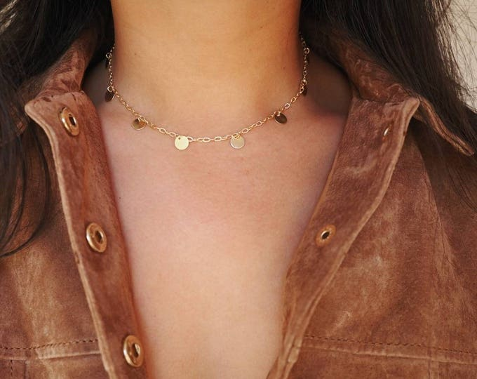 14k Gold Filled Coin Dainty Choker Necklace | Shaker Necklace | Real Gold Necklace