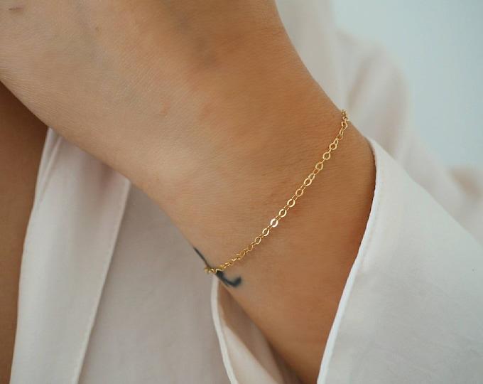 14k GOLD Filled Minimalist Simple Chain Bracelet | | Real Gold Bracelet