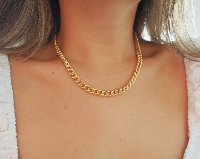 14k Gold Filled Large 9mm Link Curb Chain Necklace | Heavyweight