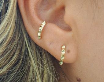 14k SOLID GOLD Mini Spike Half Hoop Earrings | Sold As Pair | Real Gold Jewelry