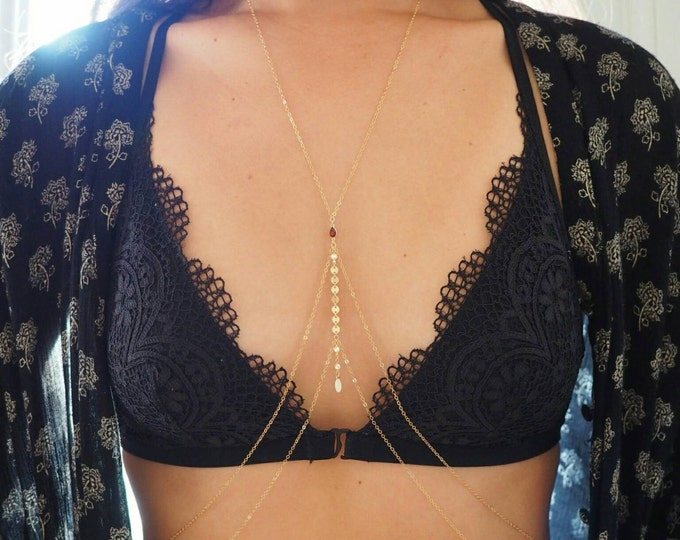 14k Gold Filled with 14k Solid Gold GARNET Coin Double V Dainty Body Chain | Real Gold Body Chain