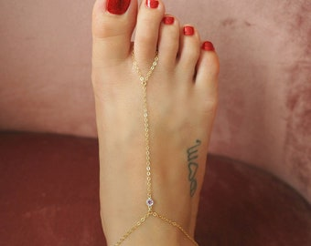 14k Gold Filled with 14k Solid Gold AMETHYST Dainty Foot Piece Anklet | | Real Gold Jewelry