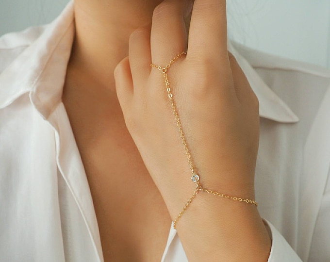 14k Gold Filled with 14k Solid Gold WHITE TOPAZ Dainty Hand Piece | Real Gold Bracelet