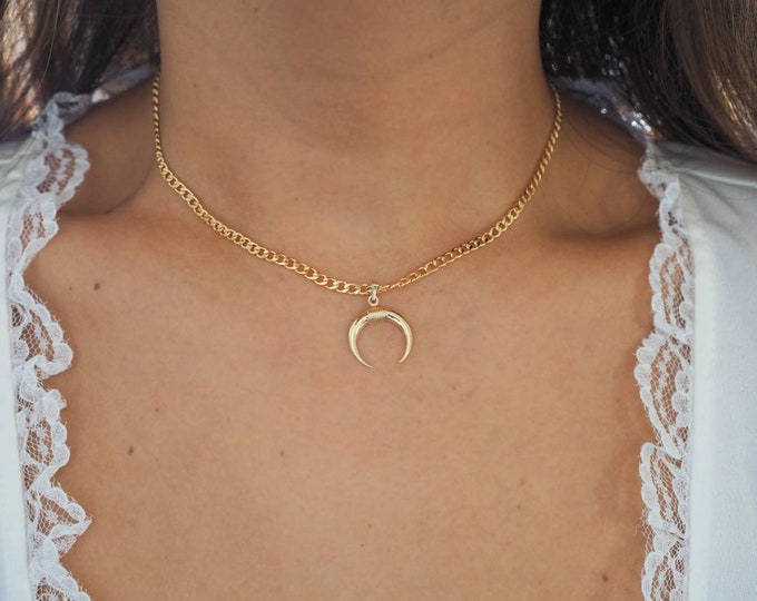 14k Gold Filled with 14k Solid Gold Big Horn Charm Necklace | Flat Slick Curb Chain | Real Gold Jewelry