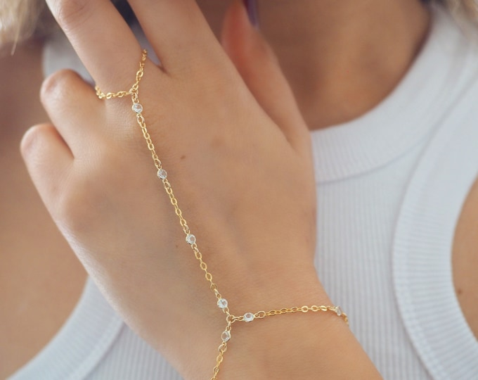 14k Gold Filled with 14k Solid Gold White Topaz Dainty Hand Piece | VERSION 2.0 | Real Gold Jewelry
