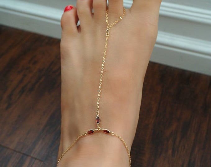 14k Gold Filled with 14k Solid Gold Garnet Triple Marquise Foot Piece Anklet | Real Gold Jewelry