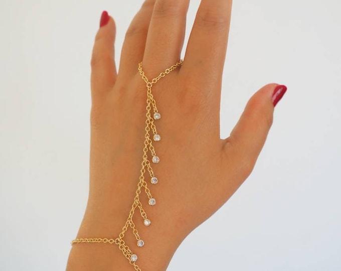 14k Gold Filled CZ Shaker Hand Piece | VERSION 2.0 | Real Gold Bracelet