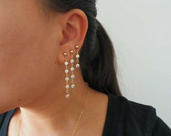 14k Gold Filled CZ Diamond Swaying Dangle Drop Earrings