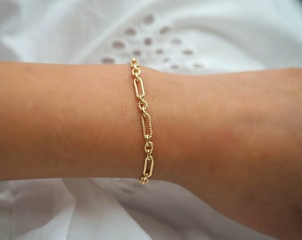 14k Gold Filled Retro Chic Chunky ChainBracelet   Real Gold Bracelet