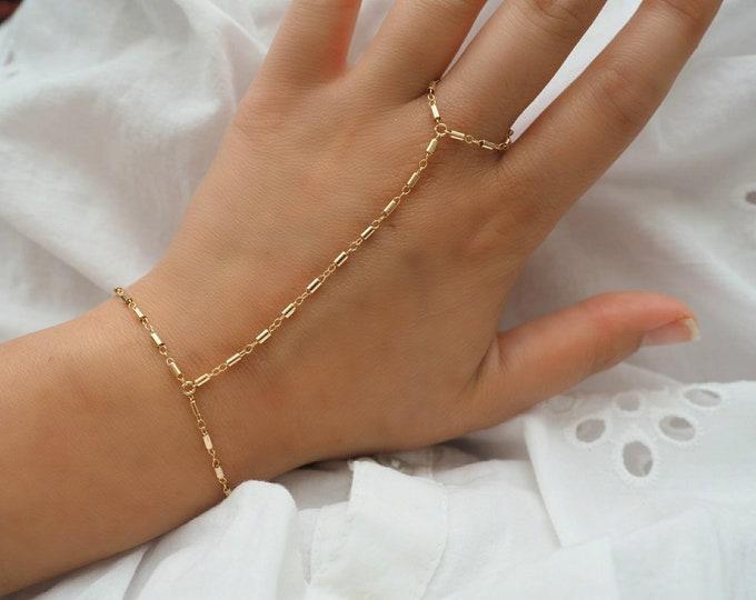 14k Gold Filled BohemianDainty Hand Piece | Real Gold Bracelet