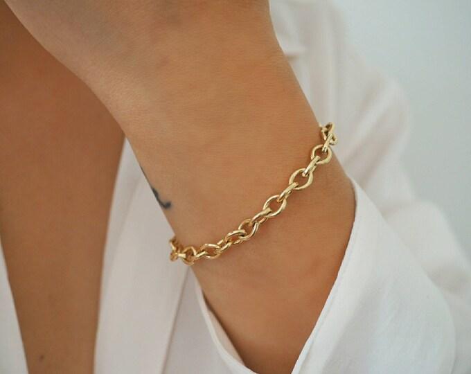 14k Gold Filled SMOOTH 7mm Chunky Bracelet | Real Gold Bracelet