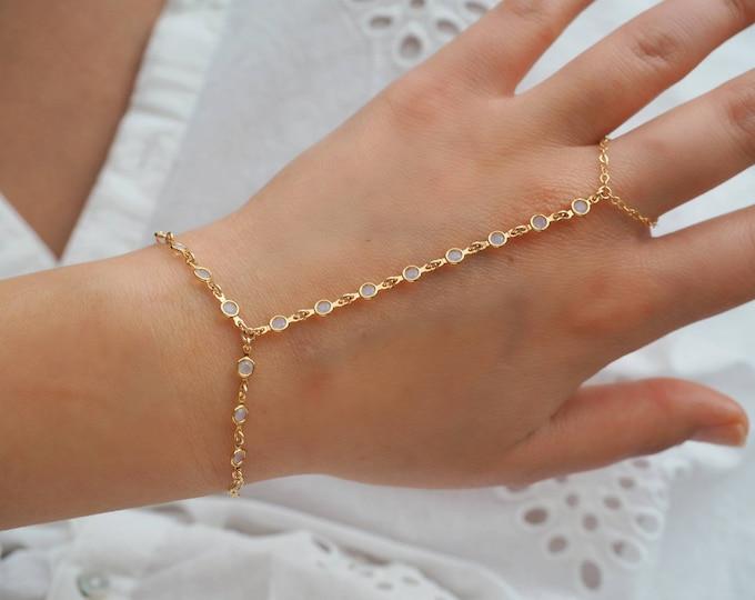 Gold Goddess Swarovski OPAL OPALITE Dainty Hand Piece