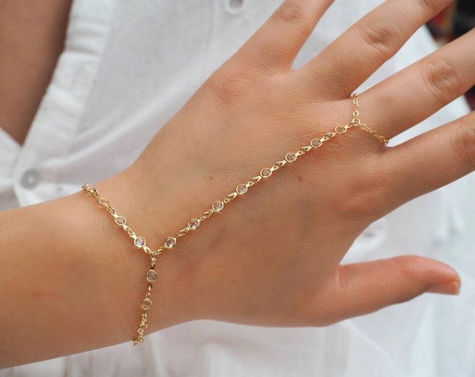 Gold Goddess Swarovski Diamond Dainty Hand Piece